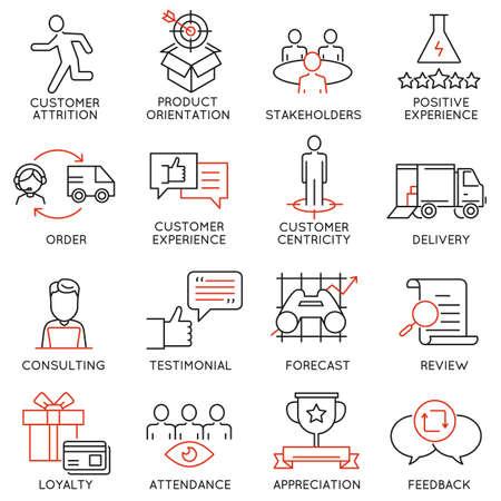 Conjunto de vectores de 16 iconos relacionados con la gestión de negocios, estrategia, desarrollo de la carrera y de procesos de negocio. pictogramas y la infografía elementos de diseño de la línea de mono