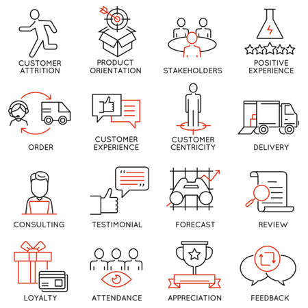 Vector set of 16 icons related to business management, strategy, career progress and business process. Mono line pictograms and infographics design elements Reklamní fotografie - 53144734