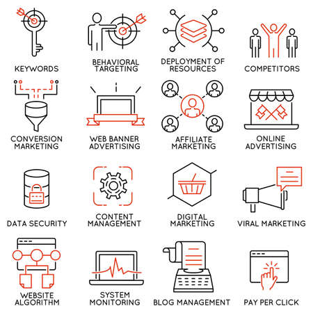comprehension: set of 16 icons related to business management, strategy, career progress and business process.