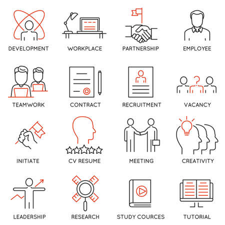 intelligent partnership: set of 16 icons related to business management, strategy, career progress and business process.