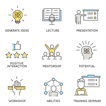 advantages: set of icons related to business, corporate management, employee organization and customer relationship management. Illustration