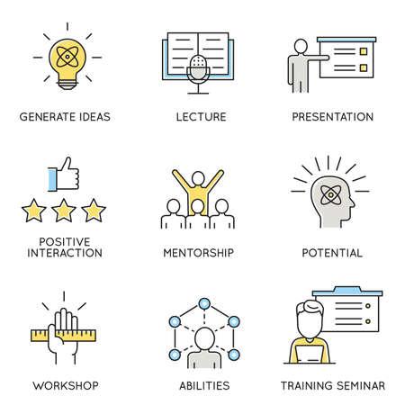 un conjunto de iconos relacionados con el negocio, la gestión empresarial, la organización de los empleados y la gestión de relaciones con los clientes. Ilustración de vector