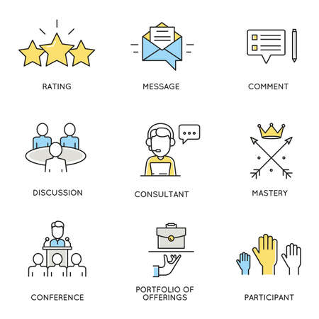 commentator: set of icons related to business, corporate management, employee organization and customer relationship management. Illustration