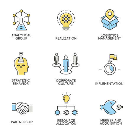 set of icons related to business, corporate management, employee organization and customer relationship management. Vettoriali