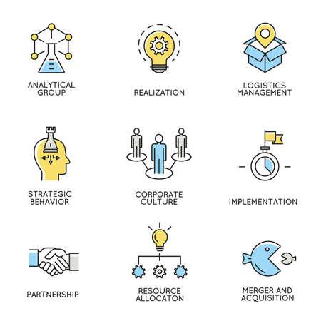 un conjunto de iconos relacionados con el negocio, la gestión empresarial, la organización de los empleados y la gestión de relaciones con los clientes.