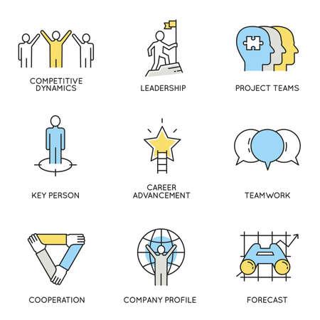 Set für die Wirtschaft, Unternehmensführung, Mitarbeiterorganisation und Customer Relationship Management im Zusammenhang mit Icons.