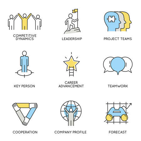 set of icons related to business, corporate management, employee organization and customer relationship management.