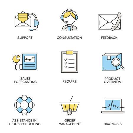 Set für die Wirtschaft, Unternehmensführung, Mitarbeiterorganisation und Customer Relationship Management im Zusammenhang mit Icons. Vektorgrafik