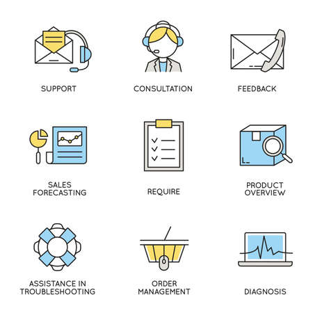 relationship management: set of icons related to business, corporate management, employee organization and customer relationship management. Illustration