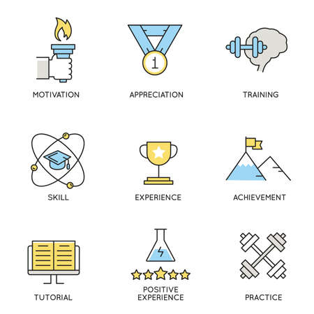 assert: set of icons related to business, corporate management, employee organization and customer relationship management. Illustration