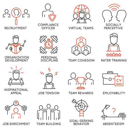 absenteeism: set of 16 icons related to business management, strategy, career progress and business process. Mono line pictograms and infographics design elements