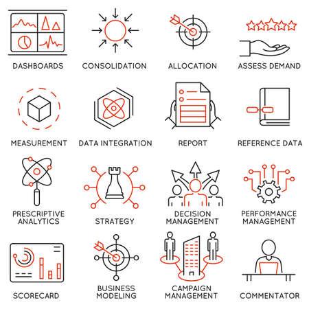 経営、戦略、キャリアの進歩、ビジネス プロセスに関連する 16 のアイコンのセットです。モノラル ライン絵文字やインフォ グラフィック デザイン