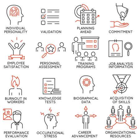 Conjunto de 16 iconos relacionados con la gestión empresarial, la estrategia, el progreso profesional y el proceso empresarial. Pictogramas de línea mono y elementos de diseño de infografías.