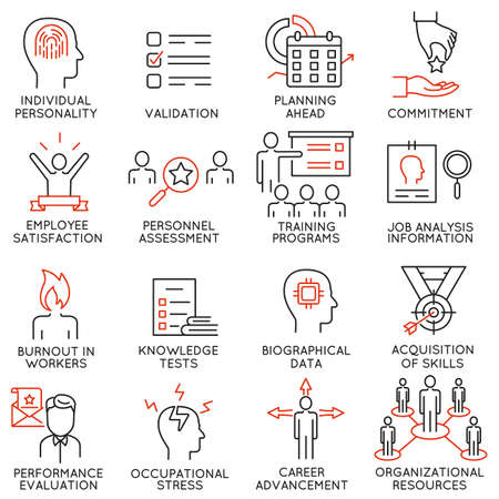 probation: set of 16 icons related to business management, strategy, career progress and business process. Mono line pictograms and infographics design elements