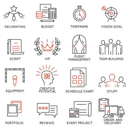 이벤트 관리, 이벤트 서비스 및 특별 이벤트 조직에 관한 16 얇은 아이콘을 설정합니다. 모노 라인 무늬와 인포 그래픽 디자인 요소 일러스트