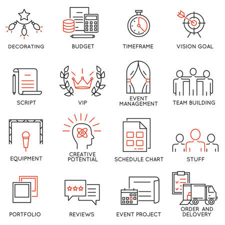 set of 16 thin icons related to event management, event service and special event organization. Mono line pictograms and infographics design elements Stock Illustratie
