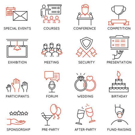 이벤트 관리, 이벤트 서비스 및 특별 이벤트 조직에 관련된 16 개 얇은 아이콘의 집합입니다. 모노 라인 픽토그램 및 인포 그래픽 디자인 요소 - 2 부 일러스트