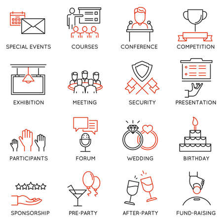 entertainment event: Vector set of 16 thin icons related to event management, event service and special event organization. Mono line pictograms and infographics design elements - part 2