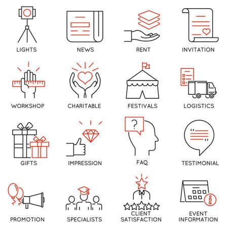 Satz von 16 Thin Symbole Event-Management im Zusammenhang, Veranstaltungsservice und spezielle Event-Organisation. Mono Linie Piktogramme und Infografik Design-Elemente