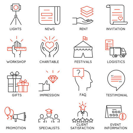 event management: set of 16 thin icons related to event management, event service and special event organization. Mono line pictograms and infographics design elements Illustration
