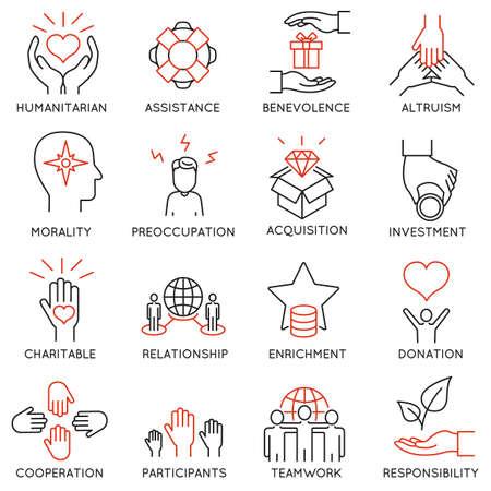 sociedade: Jogo de 16 ícones finos relacionados ao altruísmo, benevolência, responsável humana e beneficência. Altruísmo, a benevolência Icons. pictogramas de linha mono e infográficos elementos de design Ilustração