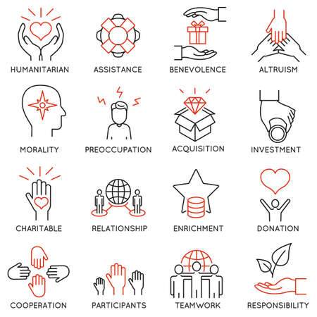 volunteering: set of 16 thin icons related to altruism, benevolence, human responsible and beneficence. Altruism, Benevolence Icons. Mono line pictograms and infographics design elements