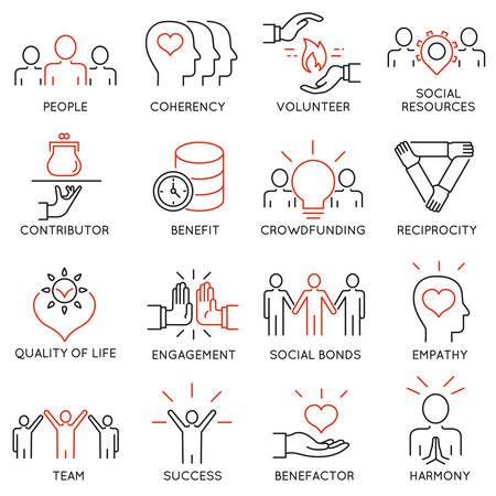 altruismo: Conjunto de 16 iconos finas relacionadas con el altruismo, benevolencia, responsable humana y la beneficencia. El altruismo, la benevolencia iconos. pictogramas y la infografía elementos de diseño de la línea de mono