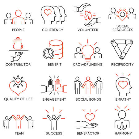 set of 16 thin icons related to altruism, benevolence, human responsible and beneficence. Altruism, Benevolence Icons. Mono line pictograms and infographics design elements