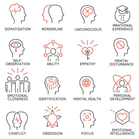 set of 16 modern thin line icons related to mental features of human brain process, mental disorders. Simple Mono line pictograms and infographics design elements and symbols