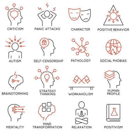 set van 16 moderne dunne lijn iconen met betrekking tot de geestelijke kenmerken van de menselijke proces hersenen, psychische stoornissen Stock Illustratie