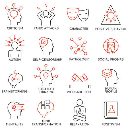 set of 16 modern thin line icons related to mental features of human brain process, mental disorders