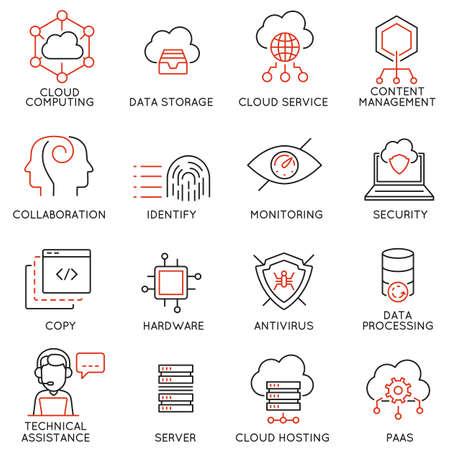 conjunto de 16 iconos de líneas modernas delgada relacionados con el servicio de computación en nube y almacenamiento de datos