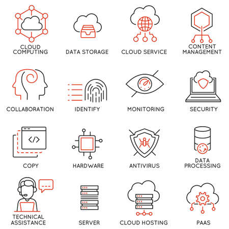 replication: set of 16 modern thin line icons related to cloud computing service and data storage