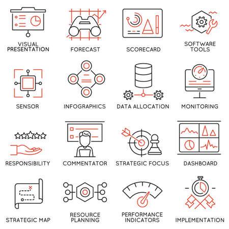 Conjunto de 16 modernos Línea fina iconos relacionados con Sistema de Gestión de Estrategia y Balanced Scorecard.
