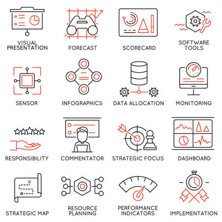 Set of 16 Modern Thin Line Icons Related to Strategy Management System and Balanced Scorecard. Vectores