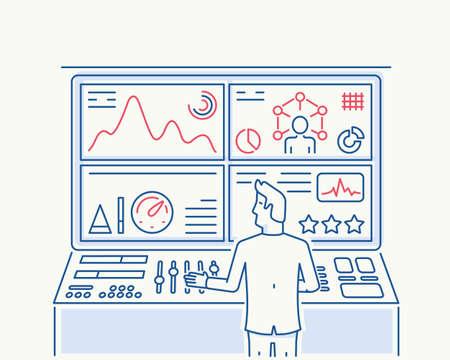 balanced scorecard: Modern thin line illustration related to Human Recource, Customer Relationship Management, Strategy Management System and Balanced Scorecard