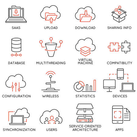 Set of 16 modern thin line icons related to cloud computing service and data storage