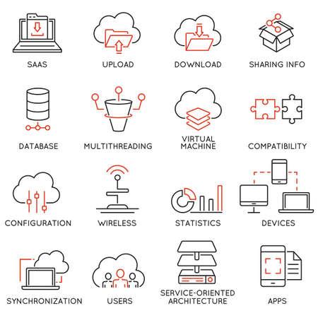 Set di 16 icone moderne linea sottile relative al servizio di cloud computing e di storage dei dati