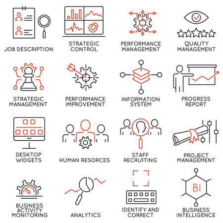 Conjunto de 16 modernos Línea fina iconos relacionados con Sistema de Gestión de Estrategia y Balanced Scorecard Ilustración de vector