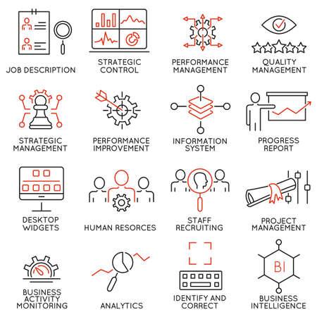 balanced scorecard: Set of 16 Modern Thin Line Icons Related to Strategy Management System and Balanced Scorecard