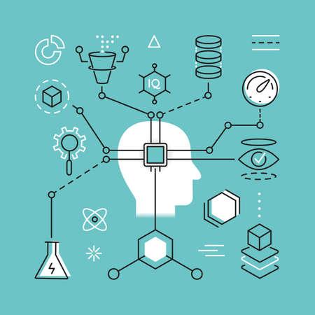 Delgado moderno concepto de línea de la Inteligencia Artificial y la tecnología de la ciencia de Datos