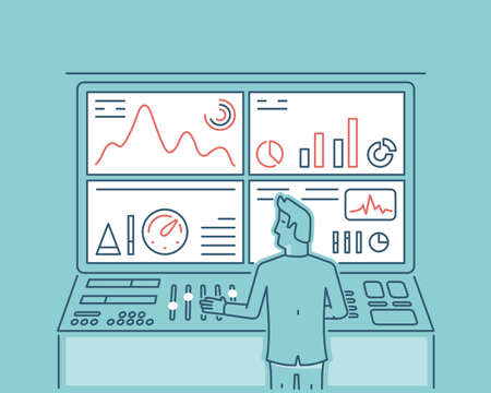 Linear illustration of web analytics information and development website statistic
