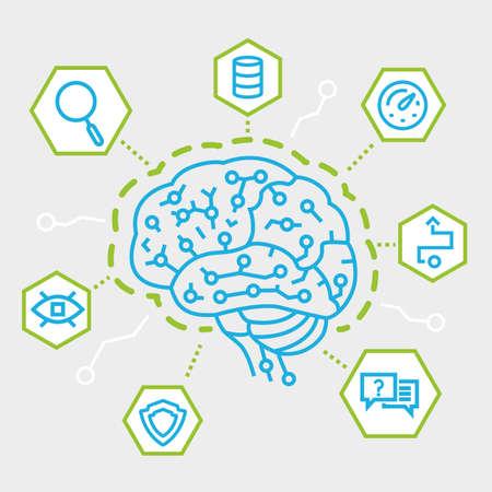 人工知能、通信、機能、電子マインド マップの概念は現代の細い線。単純な線形フラット スタイル インフォ グラフィック  イラスト・ベクター素材