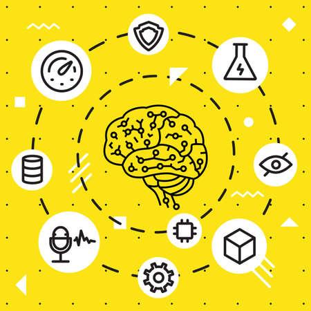 Moderne Thin Line Konzept der Künstlichen Intelligenz, Funktionen und elektronische Mindmap. Einfache lineare flache Stil Infografiken