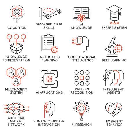 Vector set de 16 icônes minces liées à la science de l'intelligence et des données artificielles. pictogrammes mono-ligne et des infographies éléments de conception - Partie 2 Vecteurs