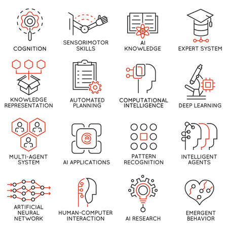 prudence: Vector set of 16 thin icons related to artificial intelligence and data science. Mono line pictograms and infographics design elements - part 2