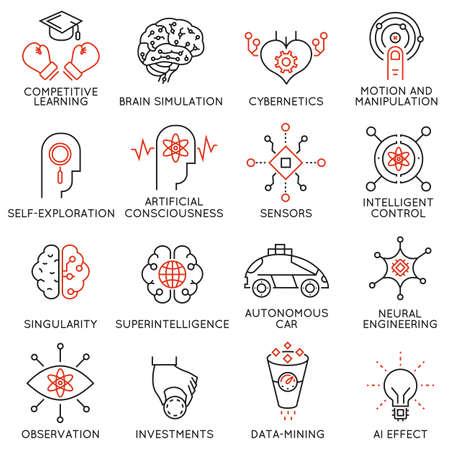 人工知能とデータの科学に関連する 16 の薄いアイコンのベクトルを設定します。モノラル ライン絵文字やインフォ グラフィック デザイン - パート