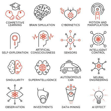 Vector set of 16 thin icons related to artificial intelligence and data science. Mono line pictograms and infographics design elements - part 3 Vectores