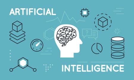 Delgado moderno concepto de línea de la Inteligencia Artificial, funciones y capacidades. delgada línea plana infografía diseño de la bandera para el sitio web y el sitio web móvil, fácil de usar y altamente personalizable Ilustración de vector