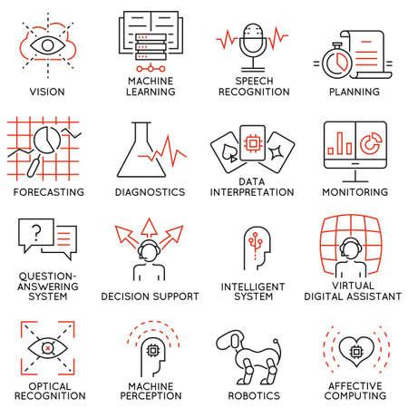 Vector set de 16 icônes minces liées à la science de l'intelligence et des données artificielles. pictogrammes mono-ligne et des infographies éléments de conception - Partie 1 Banque d'images - 59220455